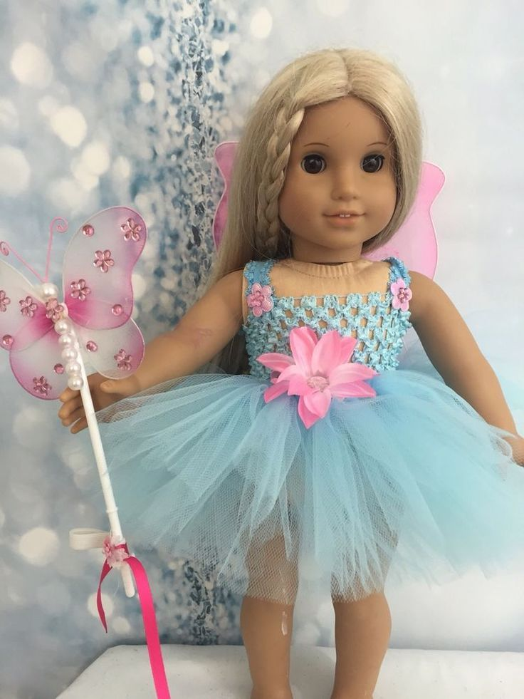 5fc847dc8 American Girl Baby Blue Fairy dress Wings And Wand clothes fits all ...