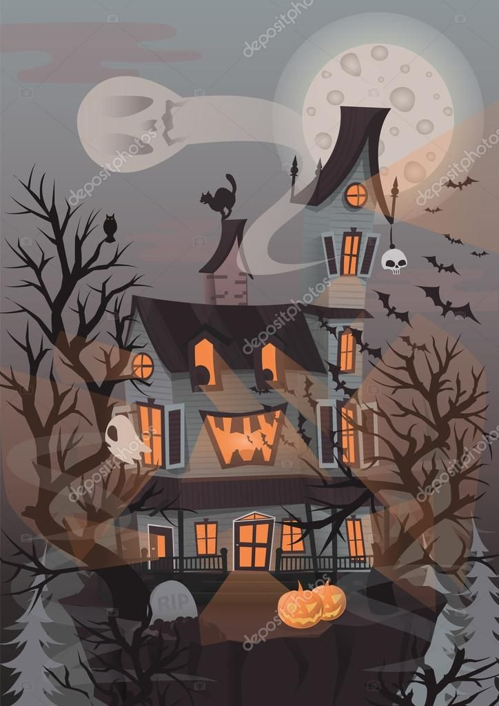 Halloween Vector Illustration With Scary House Ghosts And Pumpkin Background With Haunted House To D Halloween Wallpaper Iphone Scary Houses Halloween Vector