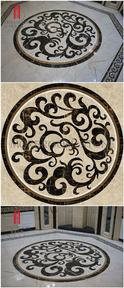 Spain Pinoso Crema Marfil Marble Polished Flooring Waterjet Medallions Marble Flower Designs Spain Marble Price