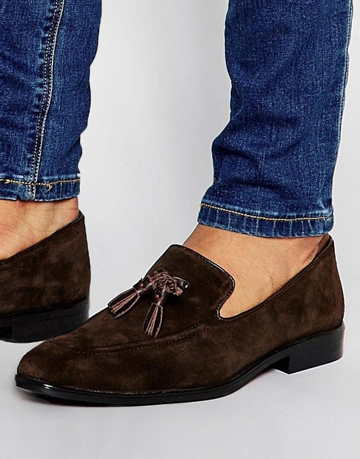 ASOS Loafers In Brown Suede With Tassel - Brown