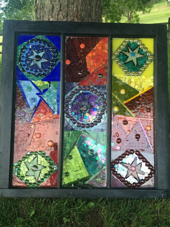 hand cut mosaic glass on vintage window by GlassyGiftsByLisa