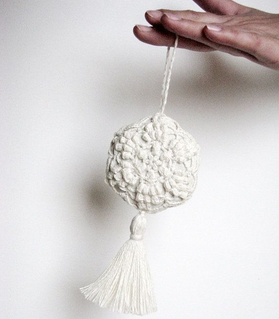 Lavender sachet/ hanging decoration natural linen handmade crochet / ivory color / wedding decor- wedding favor