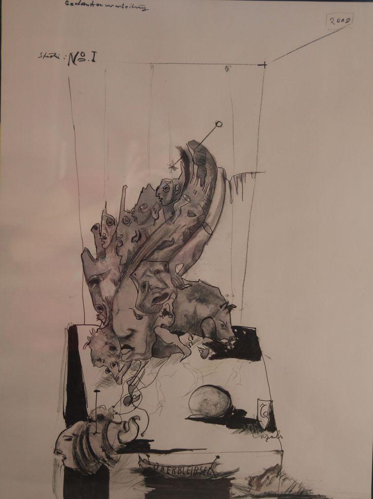 Überbleibsel, 2008, 46,5 x 63 cm, Mischtechnik auf Papier Privatsammlung