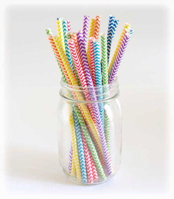 rainbow color chevron straws