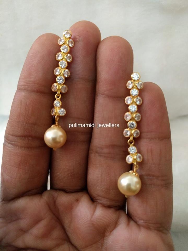 Light Weight CZs South Sea Pearl Earrings www.addiga.com