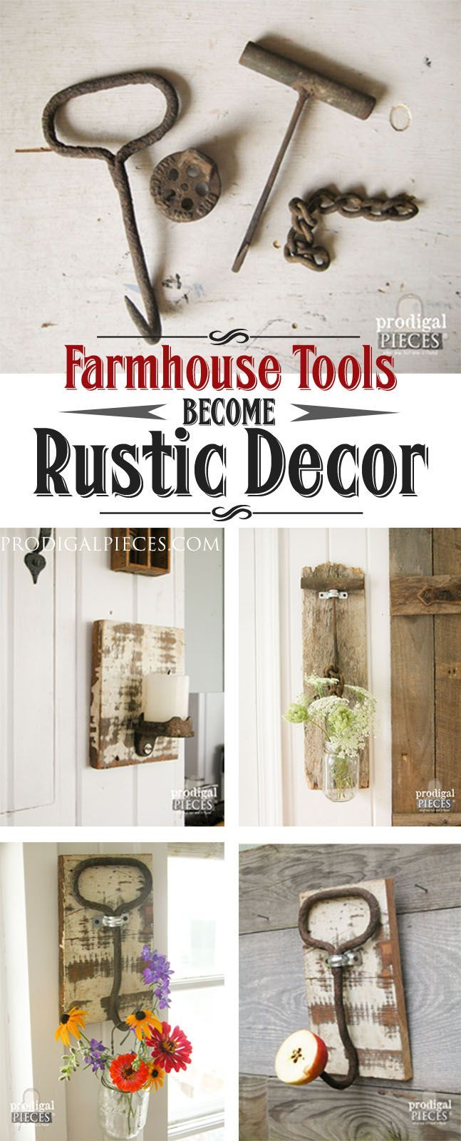 Rusty old farmhouse tools are perfect paired with reclaimed barn wood to make functional decor. Just grab a hanger, Ball jar, and a DIY attitude. by Prodigal Pieces www.prodigalpieces.com #prodigalpieces