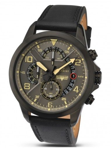 Accurist Mens Chronograph Watch. Black leather strap. The sophisticated grey dial is accentuated with eye catch yellow accents, finished with a date window and chronograph functionality.