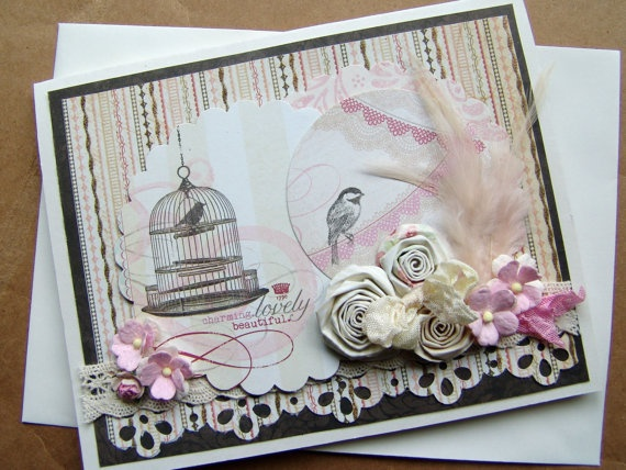 Paper flowers greeting card Charming Chickadee blank by ilovethis, $3.95