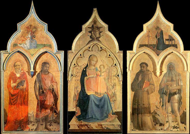 angelico. Триптих Certosa del Galluzzo 1427-28. Темпера, дерево. Центральная панель: 189 x 81 см, Боковые панели: 170 х 79 см. Музей Сан Марко, Флоренция
