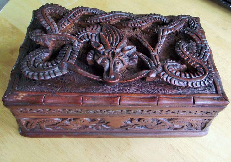 Antique carved wooden dragon secret lock box   WOOD MADERA ...
