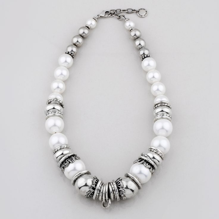 N1577 Lustrous white #shell #pearl and #silver #bead #necklace accentuated with smooth burnished #silver #rings - www.miglio.com