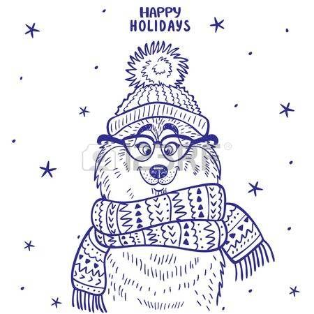 силуэт мультфильм милый и забавный сибирский хаски в шляпе с помпоном и в очках и шарфе photo