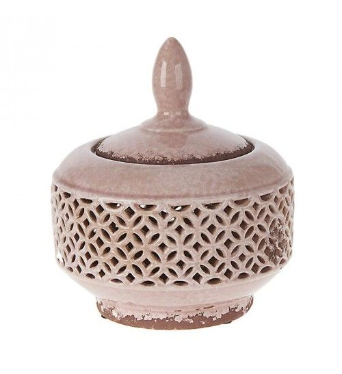 CERAMIC BOWL W_COVER IN PINK COLOR 19X19X21_5