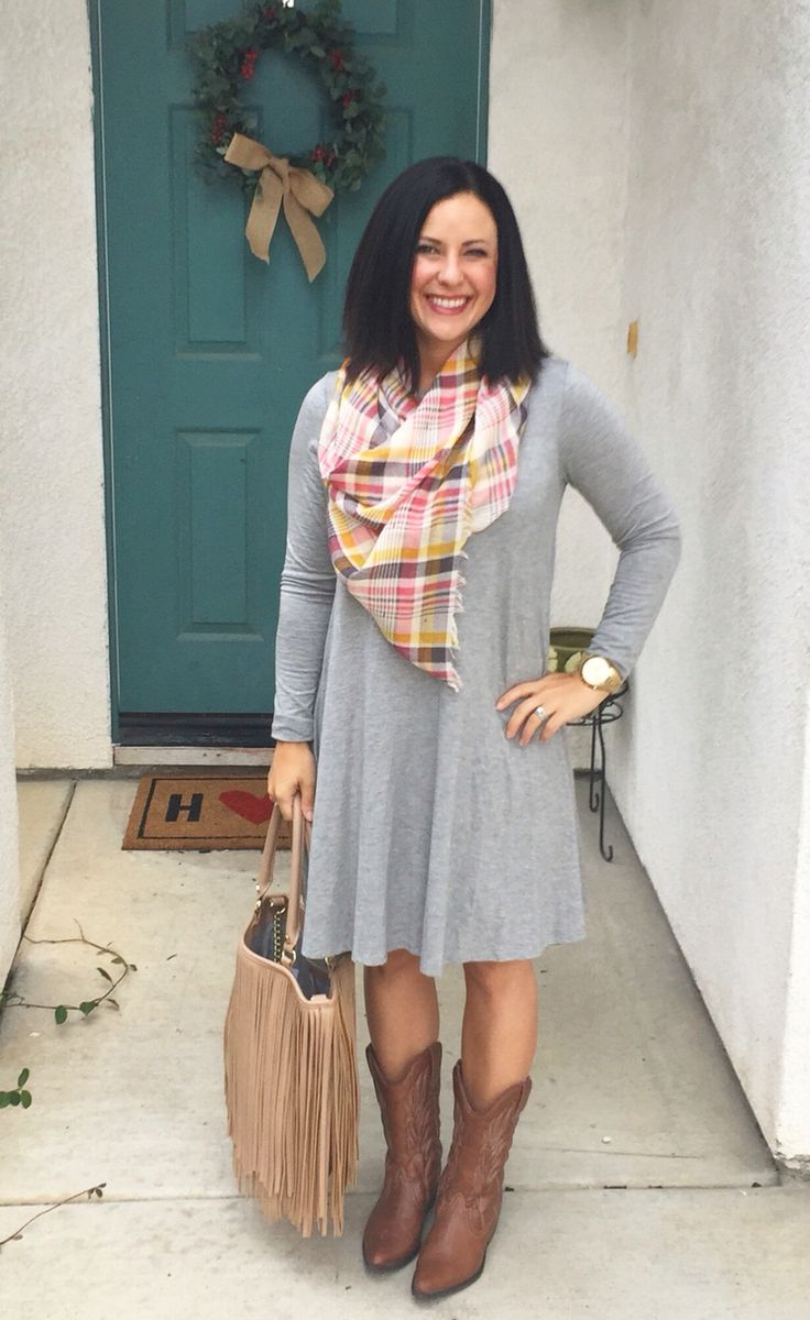 Gray swing dress, cowboy boots, blanket scarf, ootd, outfit inspiration @kari.montgomery via Instagram