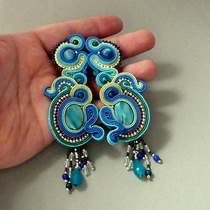 blue lagoon, earrings soutache