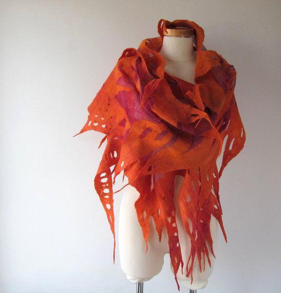 Nuno Felted scarf  Orange felt scarf  Nuno felted stole  Red Fire  shawl, Silk…