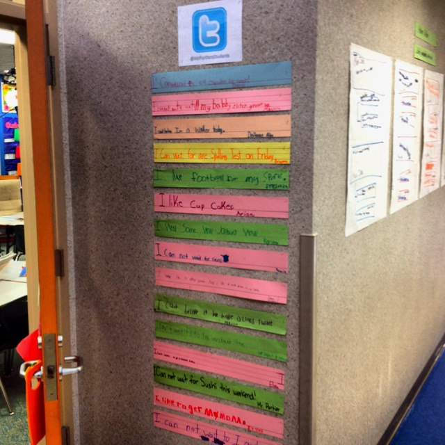 Twitter classroom wall. I use it to reinforce writing and grammar concepts. Students are asked to write their feelings or thoughts on a sentence strip.