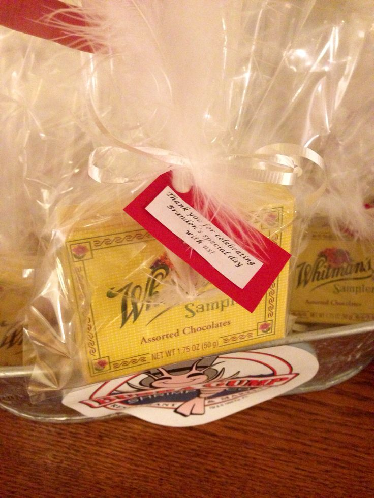 16 best forrest gump baby shower images on pinterest forrest gump these mini whitmans chocolate samplers were wrapped in clear gift bags and tied with a white ribbon that held a white feather movie reference and thank negle Image collections