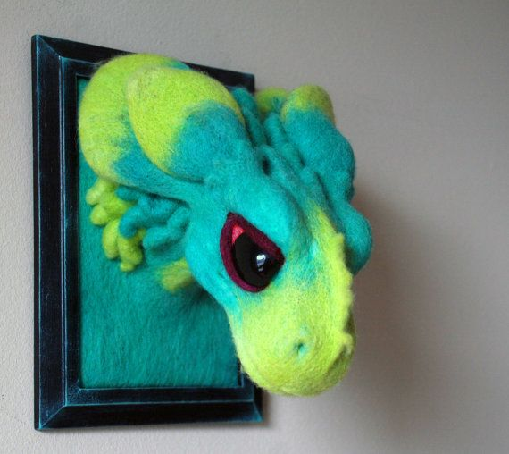 Forest dragon faux taxidermy needlefelt wall mount by Mothershark