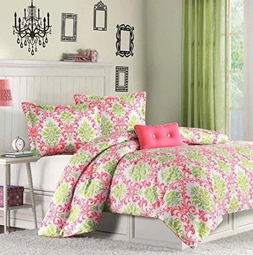 Girls Hot Pink Damask Comforter Twin XL Set Pretty Floral Bedding Girly Boho Chic Pattern Vibrant Medallion Foliage Flower Motif Salmon Coral Lime