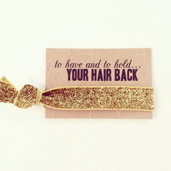 Bachelorette Party Favor // Gold Glitter Elastic Hair by LoveMiaCo