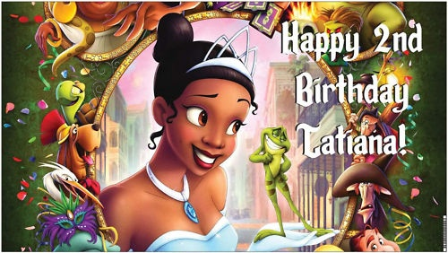 Disney Princess and the Frog Tiana Birthday Banner - A beautiful showpiece for your child's birthday and a wonderful keepsake. Dimensions: 3' x 1.6' Printed on high quality, white 10oz. vinyl, which is flexible material with a matte finish and is fade-resistant, tear-resistant, and flame-retardant. Banners are professionally printed and are shipped rolled. Your banner will never be folded, so it will have no creases. $29.95