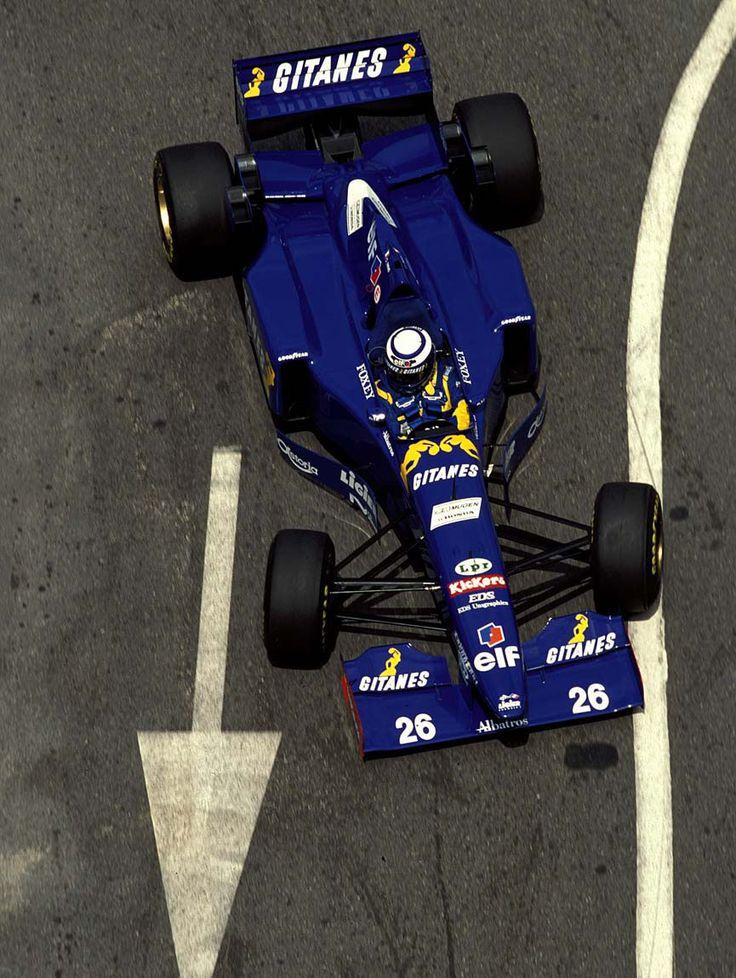 Olivier Panis in a Ligier-Mugen-Honda at the 1995 Monaco Grand Prix.