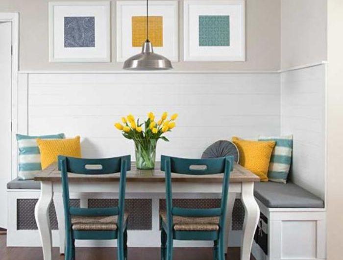 Table de coin de salle manger avec banc in 2020 booth Salle a manger avec banc