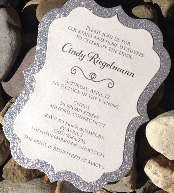 wedding shower invitations handmade%0A Bridal Shower Invitation  Glitter Bridal Shower Invitations  Set of