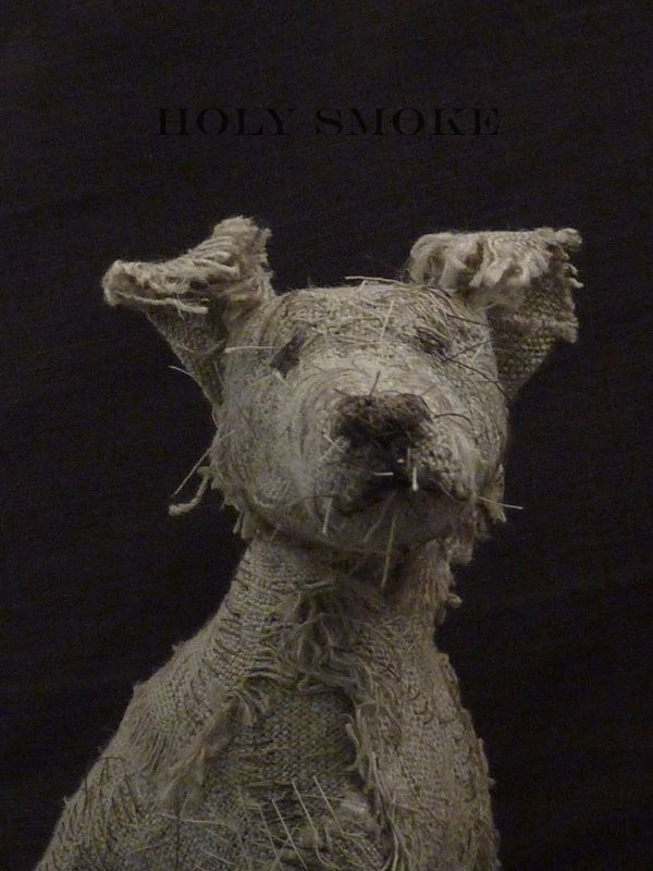 Holy Smoke   handmade animals and wire sculptures. Using natural linen and vintage textiles the animals are drawn with hand stitching to convey expression and character
