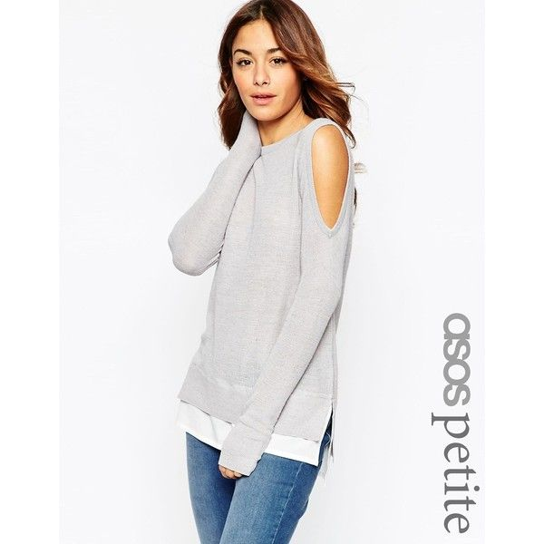 ASOS PETITE Sweater with Cold Shoulder and Woven Detail featuring polyvore, fashion, clothing, tops, sweaters, grey, gray sweater, gray top, cutout shoulder sweater, open shoulder top and petite sweaters