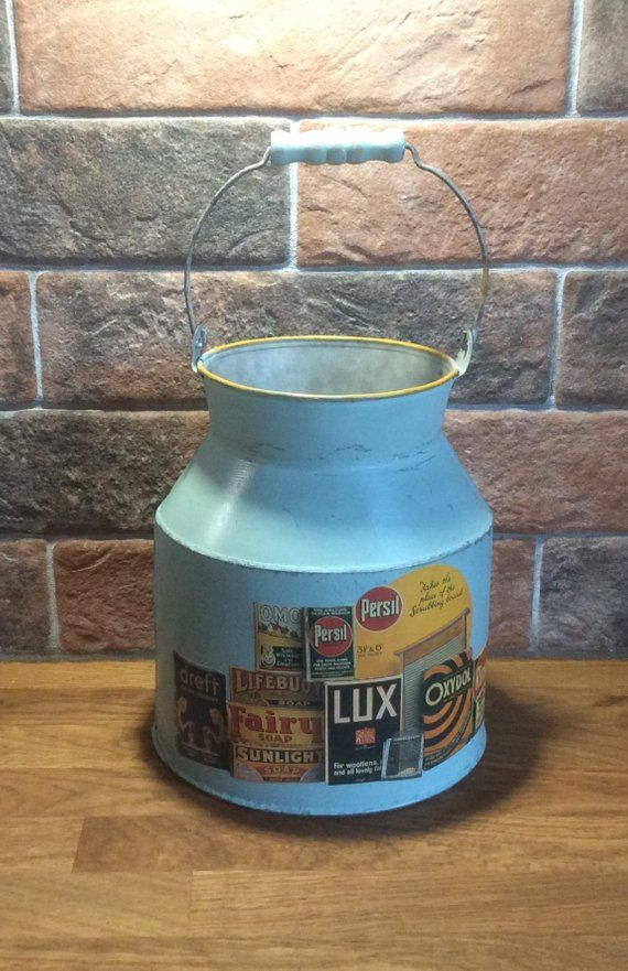Metal Milk Churn Blue Retro Images Decoupaged Vintage Style