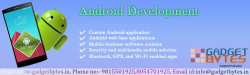 Here we are providing best service for ‪#‎android‬ app, ‪#‎web‬ ‪#‎designing‬, ‪#‎logo‬ designing at the users the demand with best cost in India. http://goo.gl/cVFSFw  #‎Email‬: info@gadgetbytes.in ‪#‎Mob‬. : 08054701925 , 09815501925 ‪#‎Landline‬ : 0161-4661925