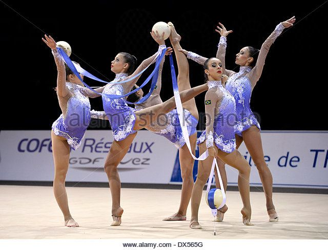 Rhythmic gymnastics, national group of Brazil, Grand Prix Thiais 2014, Thiais, Paris, France - Stock Image
