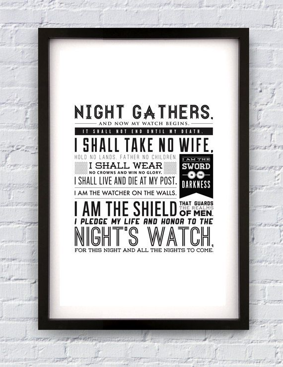 Night's Watch Oath Game of Thrones inspired print by Pixology, $20.00