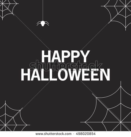 Halloween . A vector flat style with the text and a mug with a web. The leaflet, a banner, a poster, for the holiday Halloween.