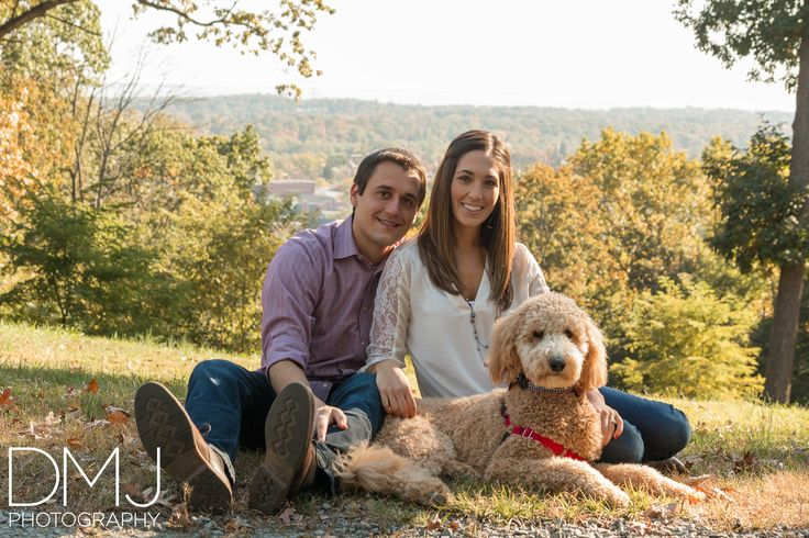Morristown, New Jersey Engagement with Goldendoodle