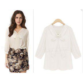 blusa de mangas largas estilo profesional y elegante de color blanco