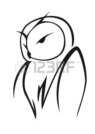 Stylized black and white vector doodle sketch of an owl in side..
