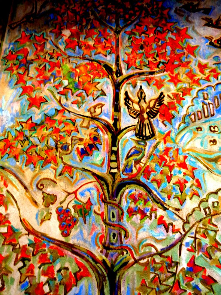 Tree with autumn Leaves - bird - grapes - wall murals by Walter Anderson - Community Center - Ocean Springs, Mississippi - photo by Sandy Robert