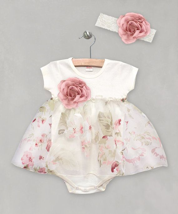 Baby Girl Floral Organza Skirted Bodysuit and Headband. This gorgeous flutter sleeve multi floral organza onsie bodysuit is perfect for Springs special