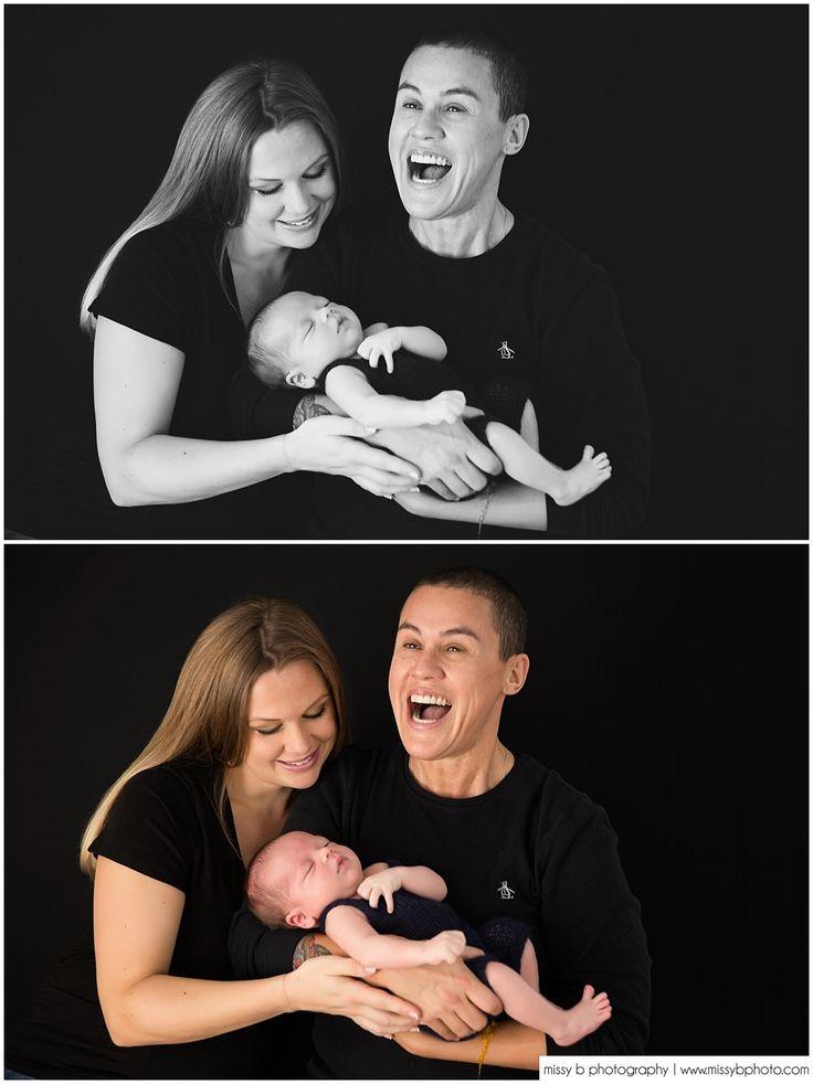 Newborn Photos, Black & White Images - Missy B Photography www.missybphoto.com Newborn pooping on Mom, Newborn same sex parents, newborn love, newborn family posing, newborn poop, newborn outtakes, newborn funny photos, newborn behind the scenes