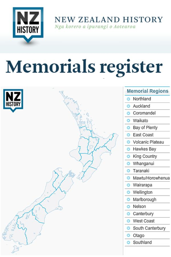 This might help you to find over 900 memorials around New Zealand. There is an interactive map and photos of the memorials. www.memoriesintime.co.nz