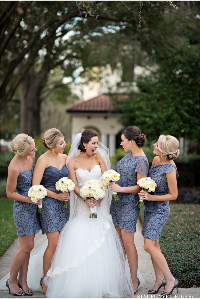 steel blue lace bridesmaid dresses LOVE