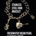 Guitar Locket Freshwater Pearl Curb Chain Bracelet Stainless Steel