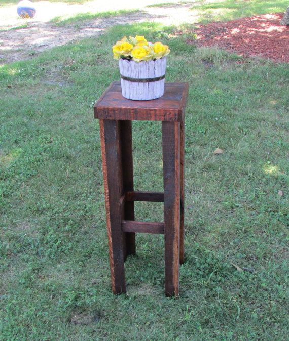 Handcrafted Plant Stand/Table or use for any side table. Made out of reclaimed wood. They are lightly sanded for a rustic look, or can be sanded