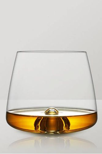 If you're serious about bourbon or rye, these modern beauties designed for Rikke Hagen are for you. The bubble at the center of the base lifts the ice-cubes (or a single large cube) off the bottom of the glass and also provides a rest for your finger, allowing for that classic whiskey interplay between temperature, aroma, and volume to coalesce into a seriously soothing experience