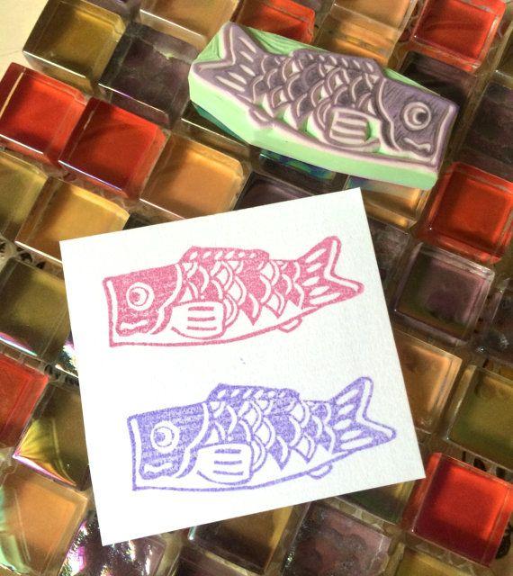 JAPAN KOINOBORI こいのぼり - Hand Carved Rubber Stamps/Fish/Celebration