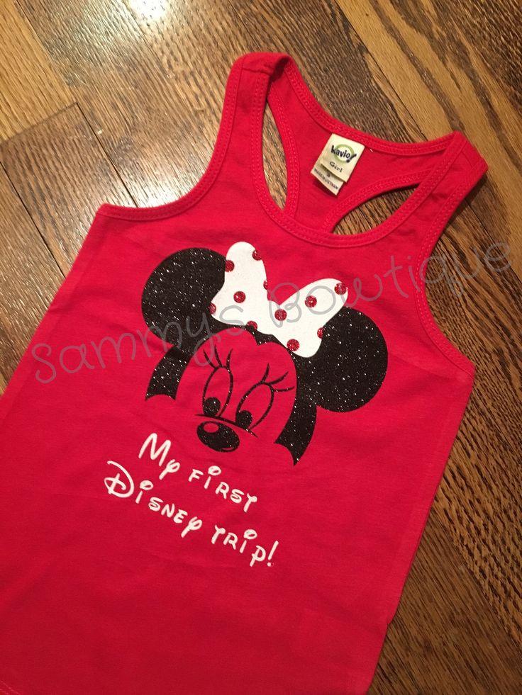 My first Disney trip girls tank! Disney tank, disney family shirts, glitter, minnie mouse tank. by sammybowtique on Etsy https://www.etsy.com/listing/492394644/my-first-disney-trip-girls-tank-disney