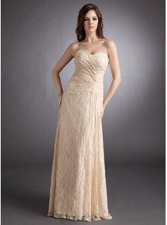 A-Line/Princess Sweetheart Floor-Length Lace Evening Dress With Ruffle (017025831) - JJsHouse